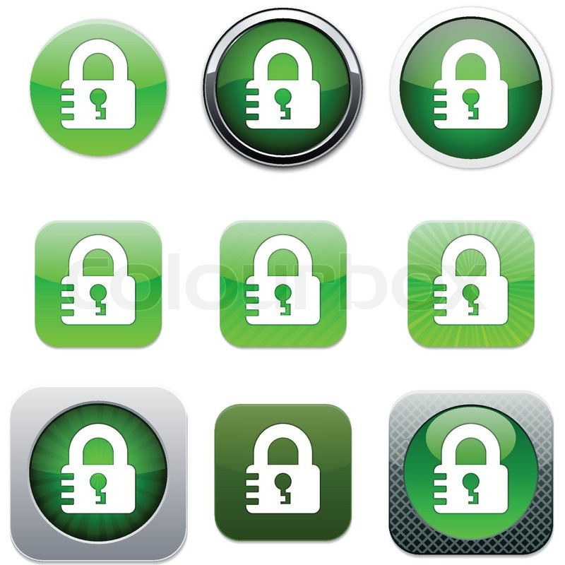 Lock Set of apps icons Vector Stock Vector Colourbox