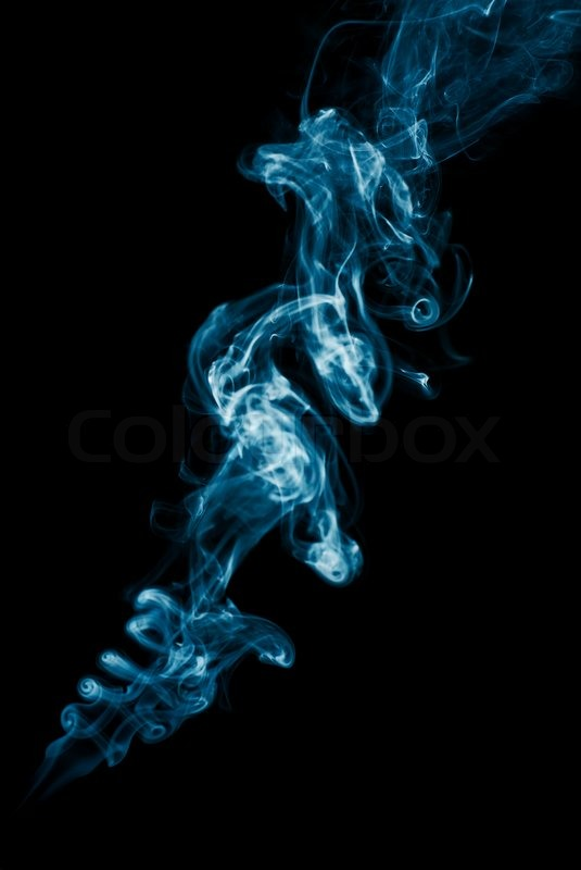 Abstract blue Smoke on black background Stock Photo Colourbox