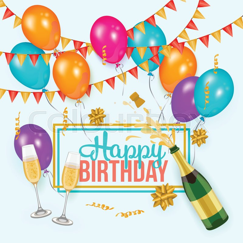 Happy Birthday greeting card template with champagne bottle and