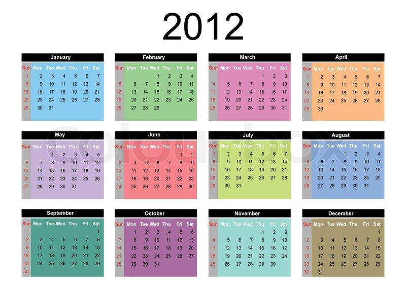 2012 annual calendar template on the white background Stock - annual calendar template