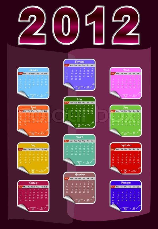 2012 annual calendar template Stock Vector Colourbox - annual calendar template