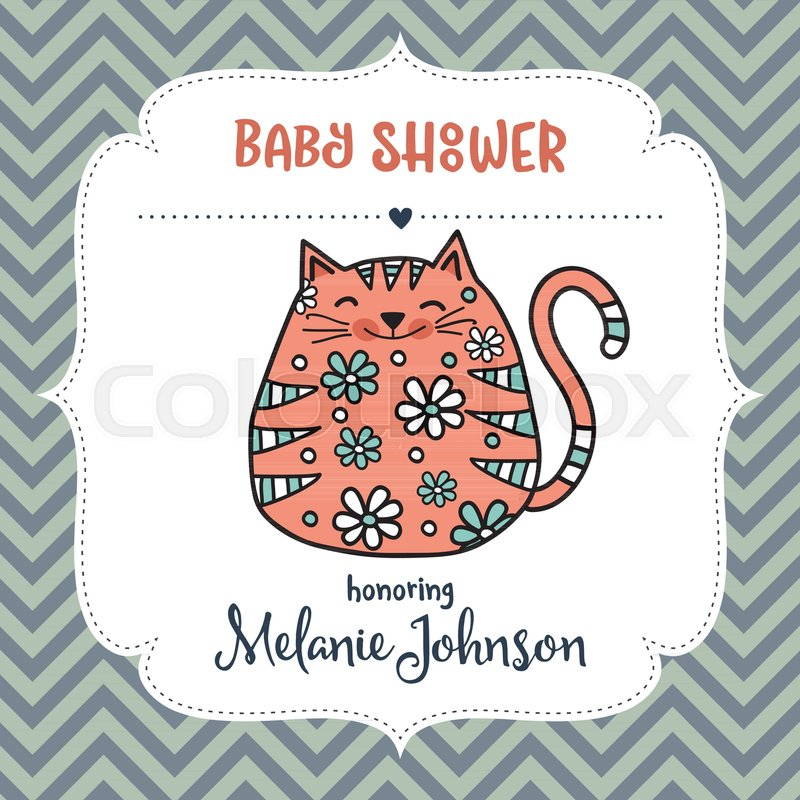 Baby shower card template with fat doodle cat, vector format Stock