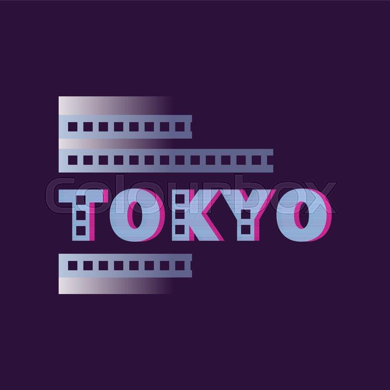 Original Tokyo logo text word Capital city of Japan Abstract