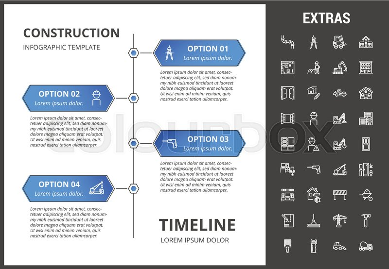 Construction timeline infographic Stock Vector Colourbox