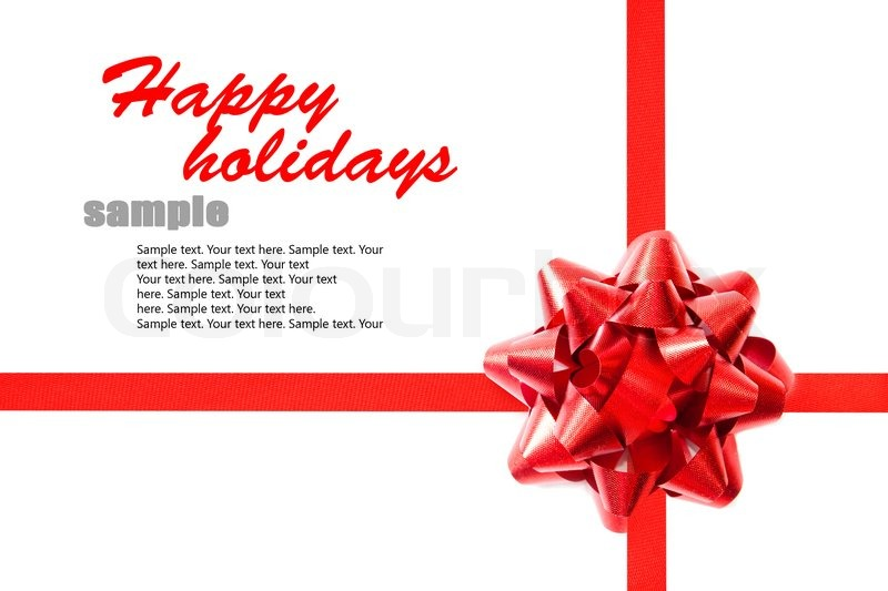 Red ribbon with a bow on the holiday letter with sample text Stock - holiday closure sign template