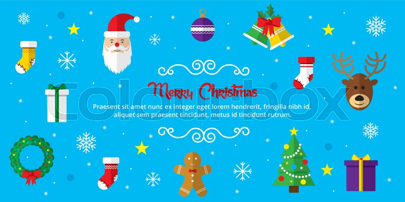 Merry Christmas background Set of Christmas icons flat in vector