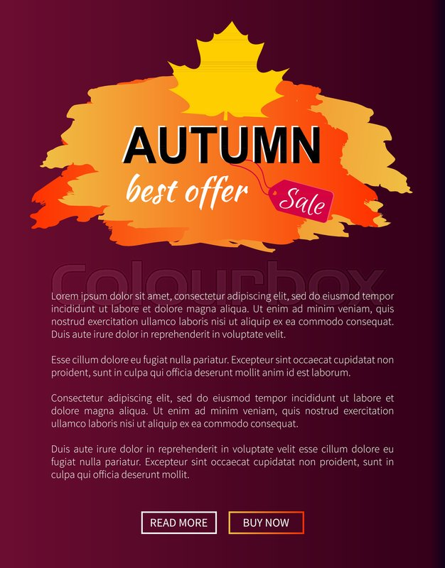 Best offer autumn sale -35 advetr promo poster with label and place