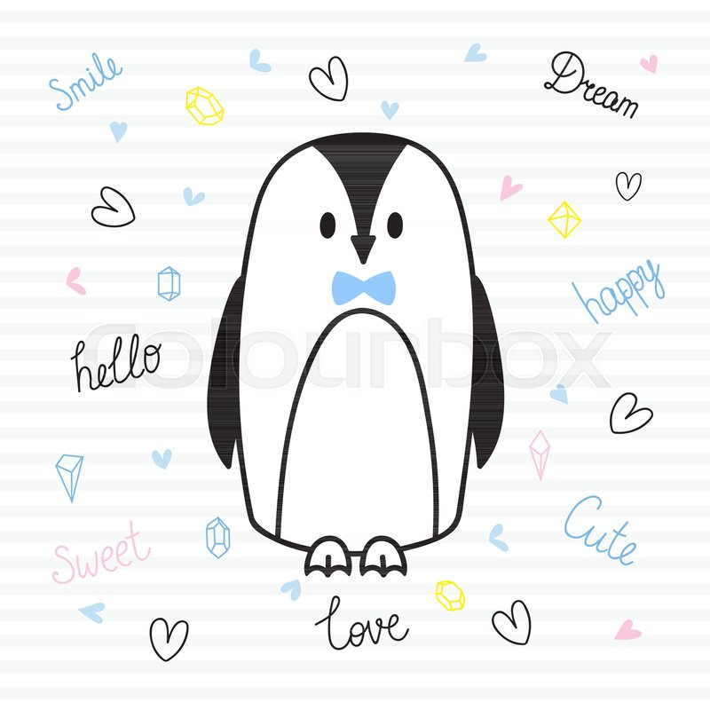 Cute hand drawn postcard with funny penguin Card for little girl or - penguin template