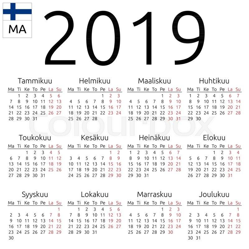 Simple annual 2019 year wall calendar Stock Vector Colourbox