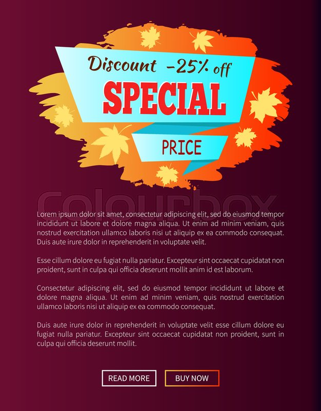 Special price autumn sale - 25 advert promo poster with label, place