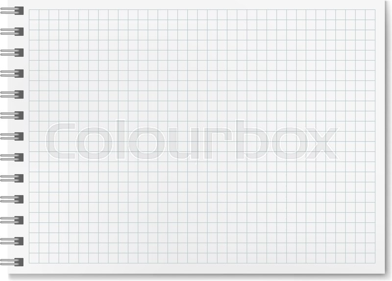 Horizontal vector realistic graph ruled notebook Notepad with blank - notepad paper template