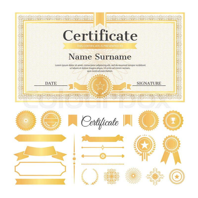 Certificate sample with stamps and signatures, text and name with