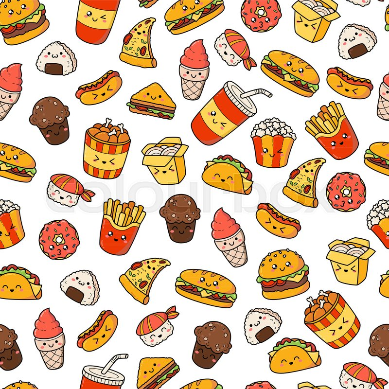 Cute Nutella Wallpapers Set Of Vector Cartoon Doodle Icons Junk Food Illustration