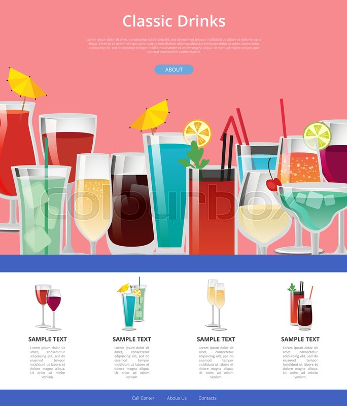 Classik drinks web poster with samples Stock Vector Colourbox