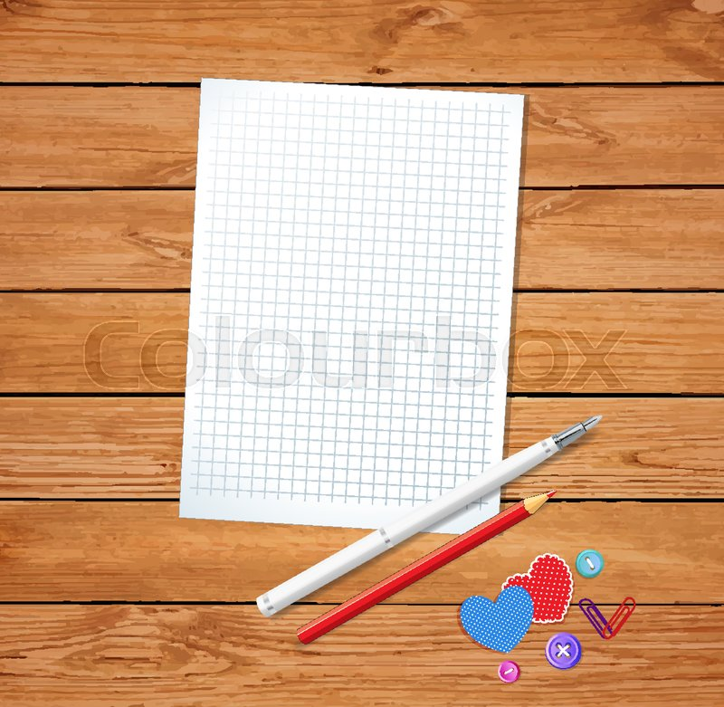 Template for Valentines day with clean notepad sheet, red pencil and