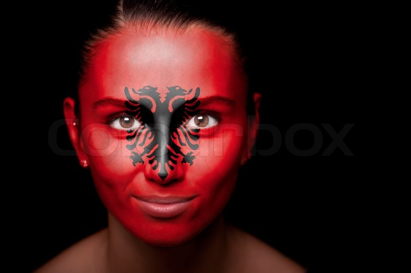 3d Colour Wallpaper Portrait Of A Woman With The Flag Of Stock Photo