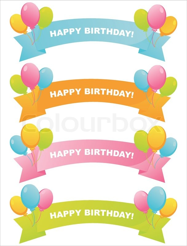 Set of 4 colorful birthday ribbons Stock Vector Colourbox