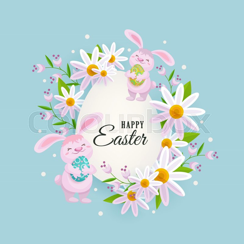 Happy Easter greeting card, postcard, banner with egg shaped center