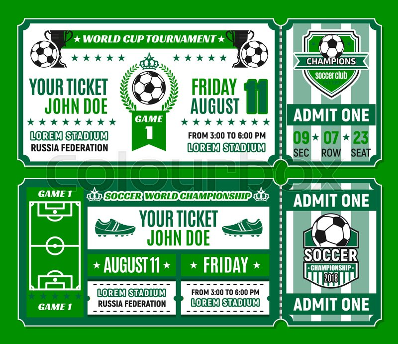 Soccer ticket template of football world cup tournament invitation - Ball Ticket Template