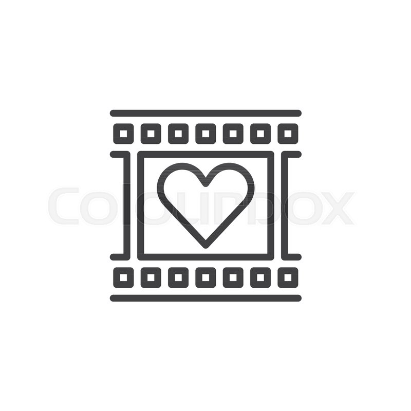Film reel with heart frame line icon, Stock Vector Colourbox