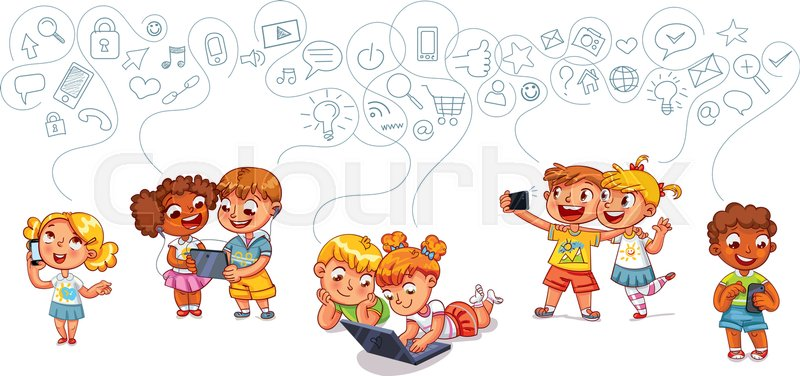Kids talking on the phone Boy is getting SMS Boy and girl with - cartoon children play