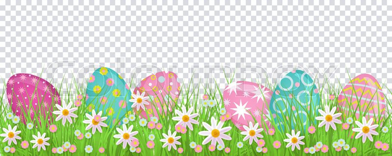 Painted egg lying in spring grass and flowers, Easter decoration