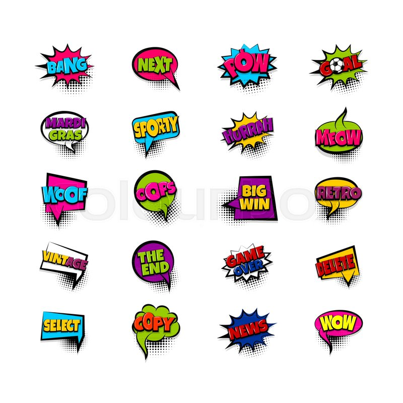Next pow goal copy woof Pop art comic text phrase set collection - cool text message art