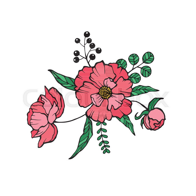 Vector Peony Coloring book page for Stock Vector Colourbox