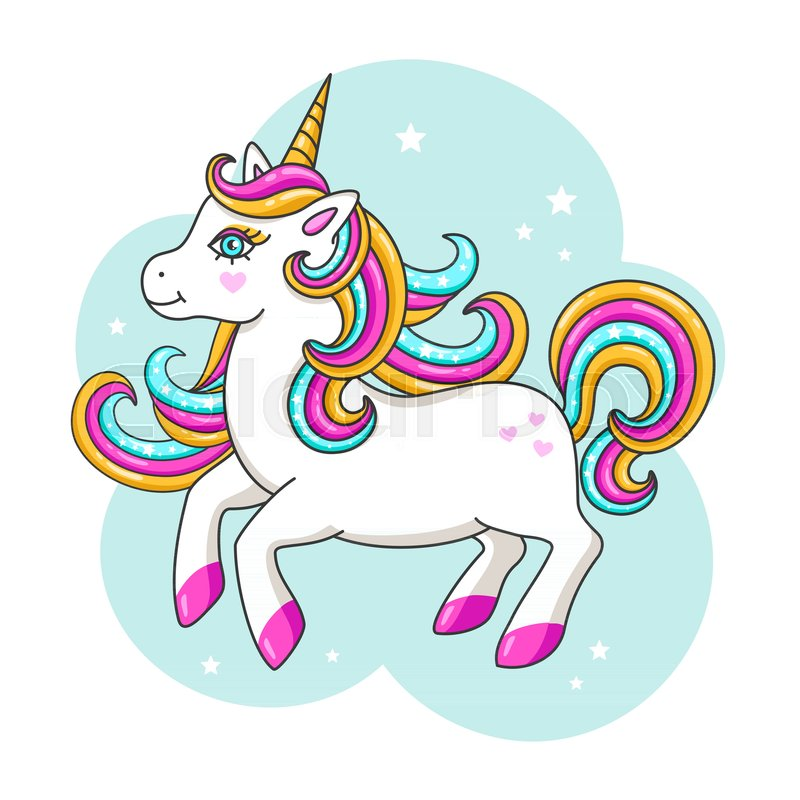 Cute Cartoon Horse Wallpaper White Cute Unicorn Vector Stock Vector Colourbox