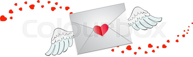 Closed envelope with heart stamp, Stock Vector Colourbox