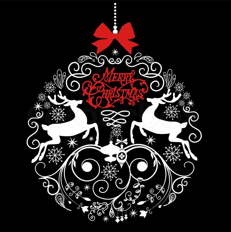 Black and White Christmas ball illustration Stock Vector Colourbox - christmas cards black and white