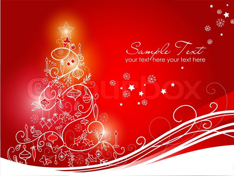 Beautiful Christmas tree on Red background Stock Vector Colourbox