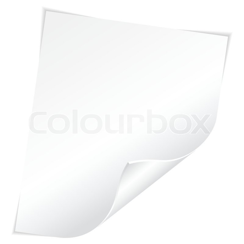 Blank Sheet of White Paper with Curved Corner on white background