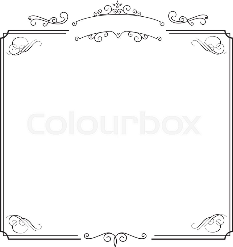 Square ornamental retro elegant black border and white album - black border background