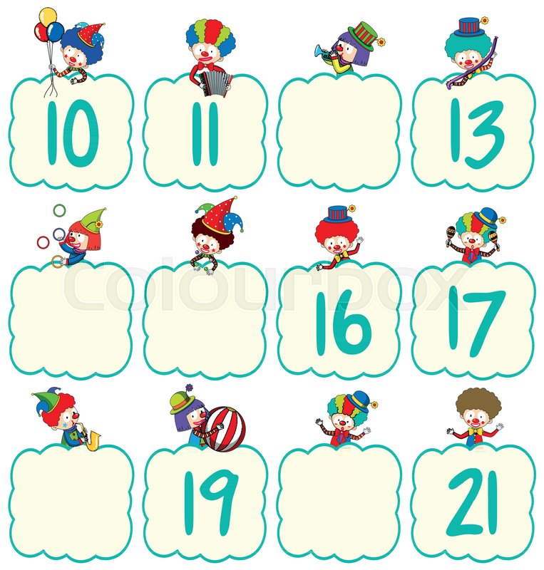 Math worksheet template with clowns and numbers illustration Stock - math worksheet template