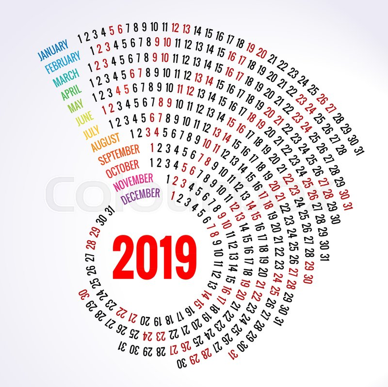 2019 calendar Print Template Spiral Stock Vector Colourbox
