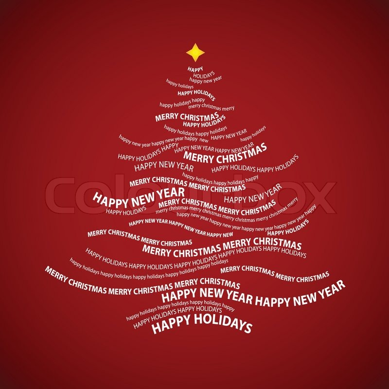 Christmas tree shape from words - typographic composition - vector - christmas tree words