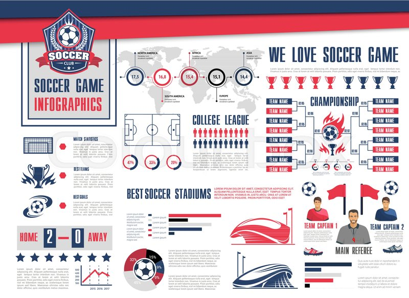 Soccer or football sport game infographic Football championship - schedule graph