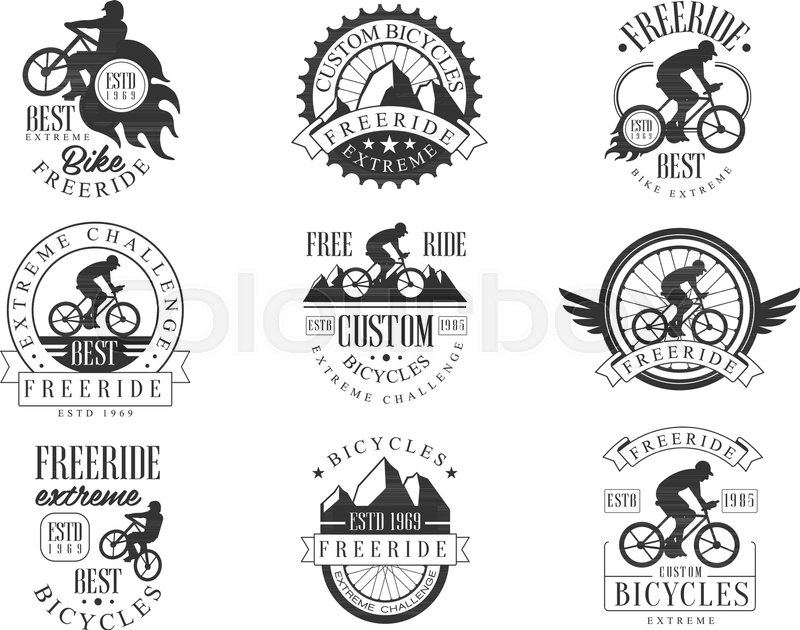 Custom Made Free Ride Bike Shop Black Stock Vector Colourbox
