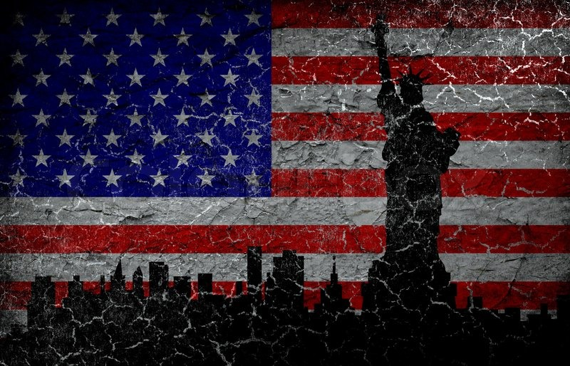 Silhouette statue of liberty on grunge american flag background - America Flag Background