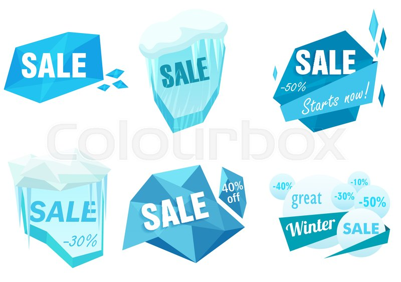 Winter ice sale set Snow cold sale banner template Christmas - sale tag template