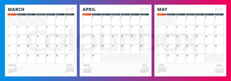 Calendar planner template for spring Stock Vector Colourbox