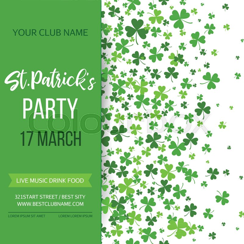 Saint Patrick s Day poster with green four and tree leaf clovers on - 's day party invitation