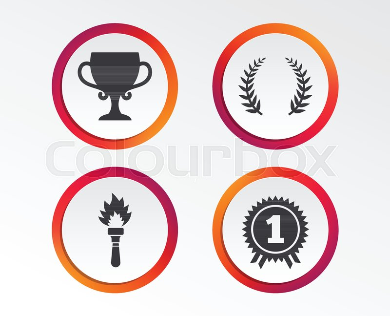 First place award cup icons Laurel wreath sign Torch fire flame