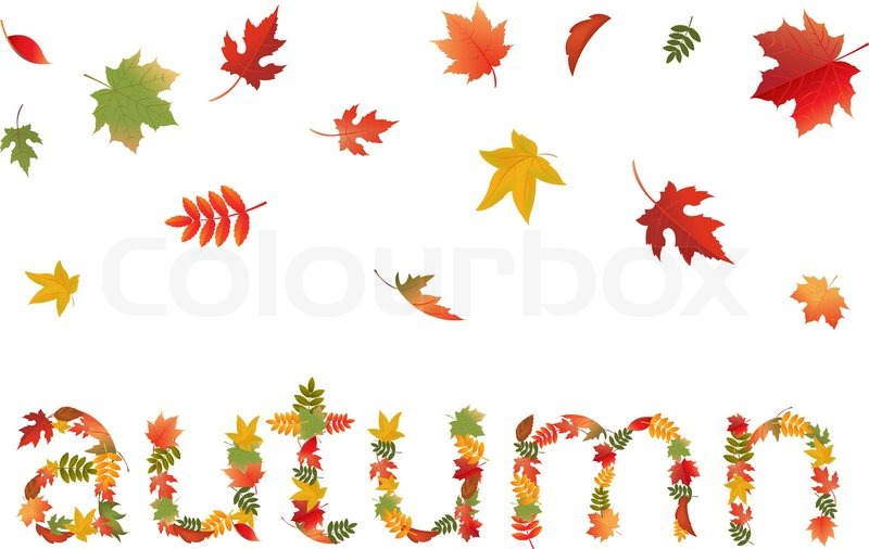 Autumn Tree Leaf Fall Animated Wallpaper Autumn Leaves In Form Of Word Isolated On White