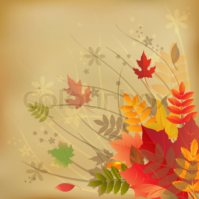 Birch Tree Fall Wallpaper Close Up Autumn Vintage Background On Old Paper Vector