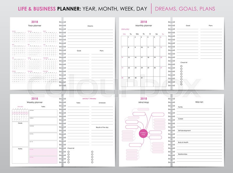 Set of planners for 2018, life and Stock Vector Colourbox