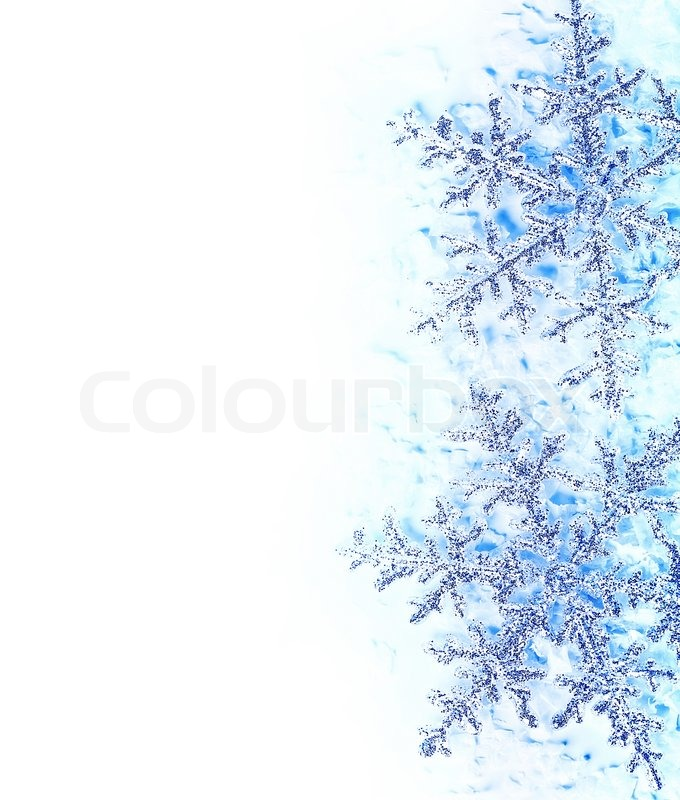 Snowflake blue decorative border, beautiful blue cold frozen snow - snowflake borders for word
