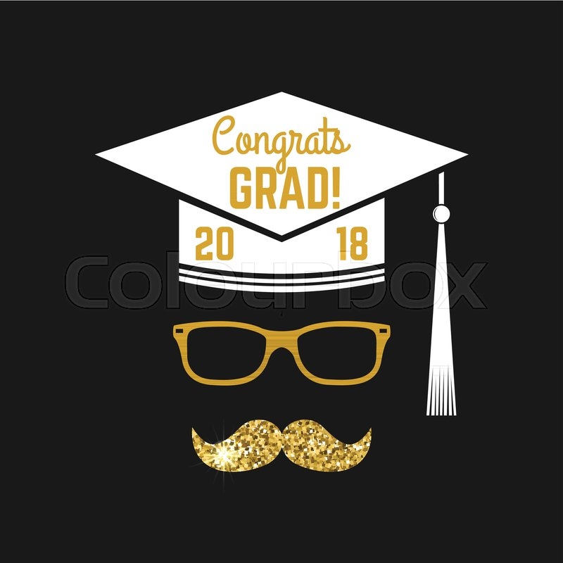 Vector Class of 2018 badge Concept for shirt, print, seal, overlay - print grad cards