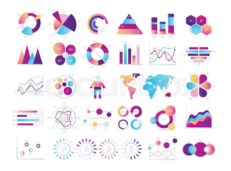 Financial and marketing charts Stock Vector Colourbox